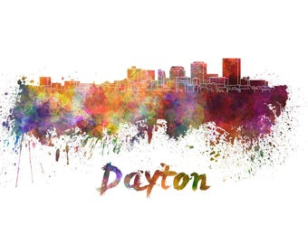 Dayton Skyline Watercolor, Dayton decor,  Dayton Ohio Skyline, Dayton Wall Art, Dayton watercolor ,Dayton Cityscape,  Dayton art