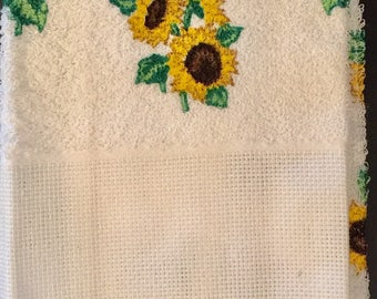 Sunflower Hand Towel that can be Cross Stitched, by Charles Craft, 100% Cotton