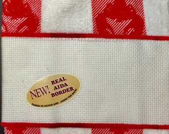 Red Checked Hand Towel with Lobsters that can be Cross Stitched, by Crafter's Pride 100% Cotton