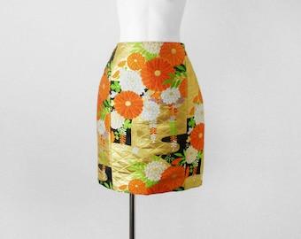 Vintage Kimono / Kimono Skirt / Kimono Obi / Obi belt / Kiku Flower / Japanese kimono