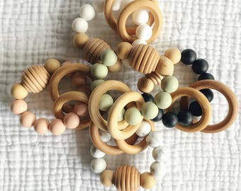 Beehive Teething Toy + Rattle - Silicone and Maple