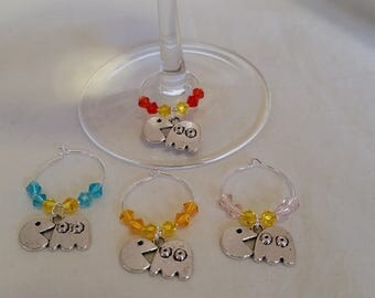 Wine Glass Charms, Wine Glass Tags, Wine Charms, Wine Glass Markers, Glass Charms, set of 4, Pac-Man