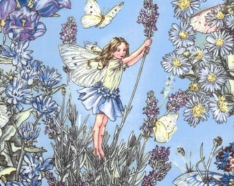 Cicely Mary Barker Flower Fairy Fairies Characters on Periwinkle Blue 100% Cotton Fabric by Michael Miller - FQ