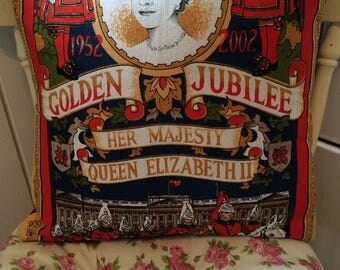 Handmade large vintage upcyled queen golden jubilee cushion cover