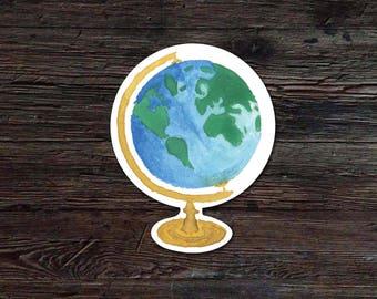 Globe Decal - Globe Vinyl Sticker - World Sticker - Watercolor Globe Sticker - Globe Sticker - Laptop Sticker - Tumbler Decal - Car Sticker