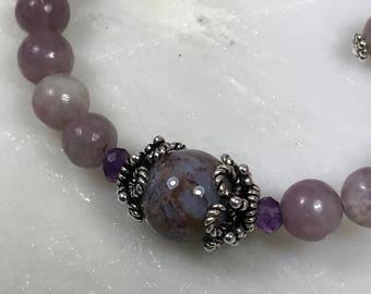 Lilac Stone & Pietersite Gemstone Wire Wrap Bracelet