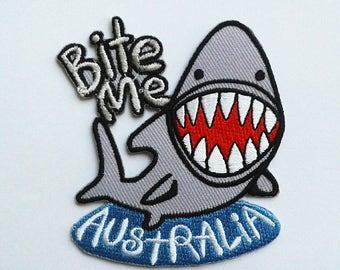 Shark bite me Australia patch.
