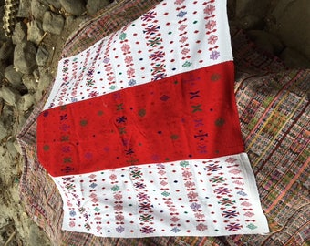 """Hand woven, red and white intricate woven design square table cloth 40""""x43"""""""