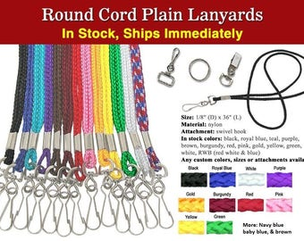 100 PCS Wholesale Rope Round Cord Plain Blank Lanyards with Swivel Clip Hooks School EVENT ID Holders