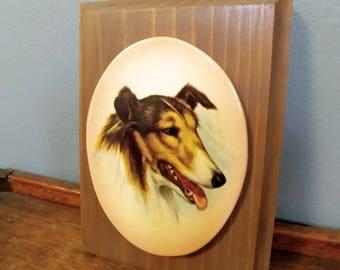 Vintage Collie Dog Ceramic Wood Wall Plaque // Dog Lover Gift