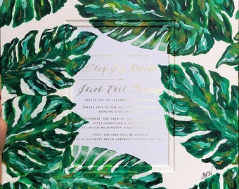 Custom Painted Wedding Invitation Mat