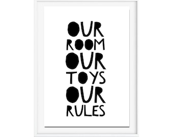 Kids room poster, my room poster, my rules poster, my toys poster, gender neutral print, typography print, kids room decor, kids wall art
