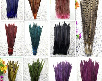 Pheasant Feathers 12-14inch red hot pink yellow blue turquoise purple green black orange ringneck pheasant tail feathers