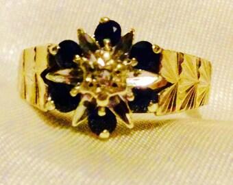 9ct Gold sapphire diamond ring