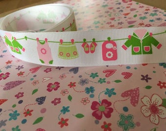 Grosgrain ribbon, baby girl, pink washing line, 25mm wide, by 1m lengths