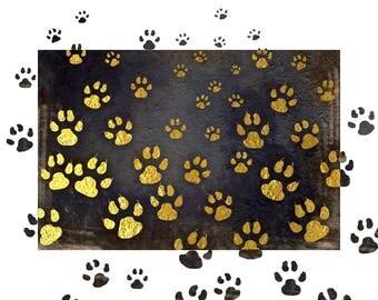 Dog Paw Print Wall Art,  Gold Foil Printable, Animal Wall Decor, Dog Digital Print, Square Print, Dog Art