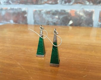 Silver and malachite pyramid earrings, Israel