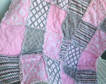 Baby rag quilt in pinks and greys