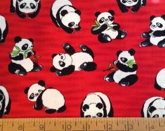 Panda cotton fabric by the yard