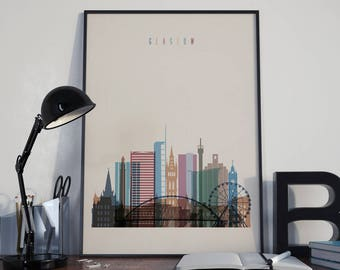 Glasgow Art Glasgow Watercolor Glasgow Multicolor Glasgow Wall Art Glasgow Wall Decor Glasgow Home Decor Glasgow Skyline Glasgow Print