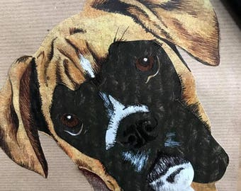 Handmade A4 mixed media Boxer Portrait Print