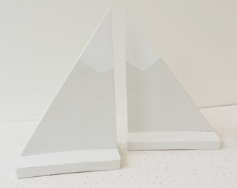 mountain bookends, nursery grey decor, snow capped bookends, childs room decor, grey and white, wooden book storage, book holders,
