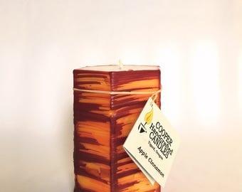 "4"" Tall Apple Cinnamon Pillar Candle - Hexagon Shape - Red, Orange, Yellow Brush Stroke"
