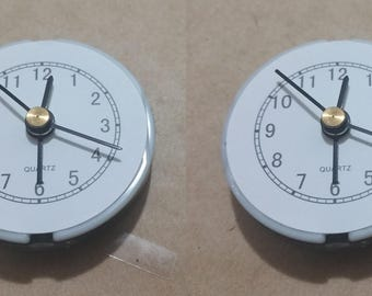 2x Small Clock Mechanism White / Black Movement Alarm DIY Quartz AG13 LR44