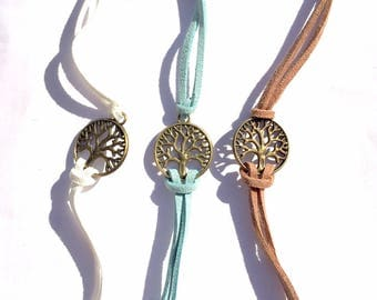 Suede white lotus - Collection bracelet * tree of life *.