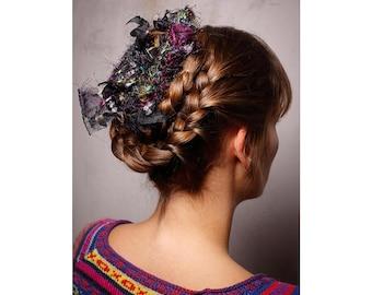 Hair Accessory Bridal - ANNAMARIAANGELIKA - Braids, Hairstyles, Upcycling Silk 30cm, Wedding, Hairband, Bridesmaids, Bride, Festival