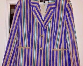 Vintage LOUIS FERAUD Set Stripe Cotton Blazer Jacket SZ 14 Made in Italy