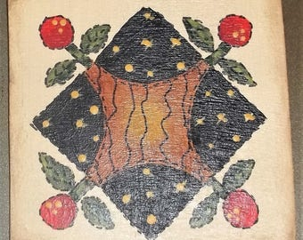 Hand Painted OOAK Wood Magnet Quilt Cherry
