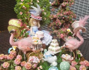 Miniature Dollhouse Alice and Wonderland Tea Party Scene with Flamingos and Madhatter hats