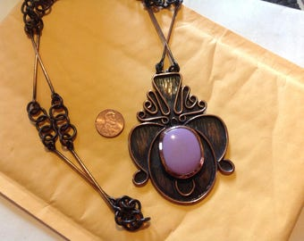 Copper artisan lavender glass tribal statement necklace
