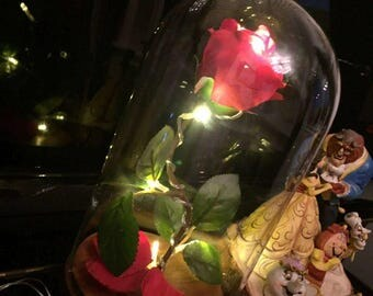 Valentines Gift. Wedding. Love.Beauty and the Beast inspired light up enchanted red rose in glass jar bell dome. Can be personalised.