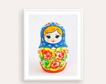 Russian Doll Printable Nursery Printable Matryoshka Poster, Russian Nesting Doll, Folk art print, printable artwork, Doll Print