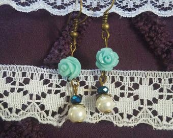 Blue Rose and Pearl Earrings
