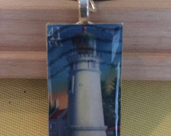 White Lighthouse Postage Stamp Pendant