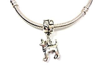 Chihuahua Charm for Bracelet - Silver Chihuahua Charm - Cute Chihuahua Charm - Dog Charm - Fits all Charm Bracelets - Chihuahua Lover Gift