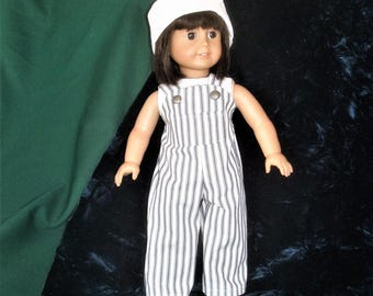cotton striped overalls for 18 inch doll