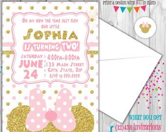 Minnie mouse party invitation, pink and gold Minnie mouse invitation, Pink and gold minnie