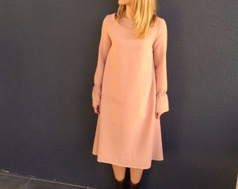 blush pink winter dress, 100% wool crepe