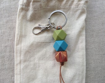 Forest edge - Silicone teething keyring on leather string