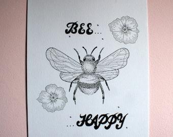 Dotwork 'Bee Happy'