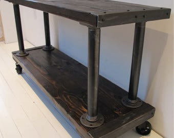 Media Console, TV Stand, Industrial Media Console,Media Console with vintage casters