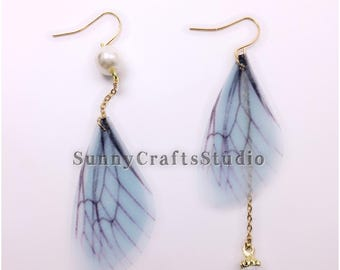 Moth wing earrings, dragonfly wing earring,wing earring