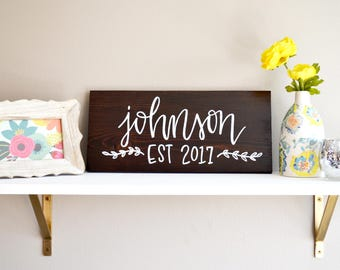 Custom Name Sign | Handwritten Wood Home Sign | 8x16 | Housewarming | Bridal Shower Gift | Wedding Gift