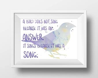 Printable Wall Art - Watercolor Bird Song Quote