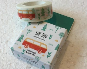 Camper Van in the Forest Washi