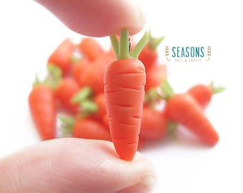 Carrot Clay Charm (2/4/6 pcs) - Jewelry Supply - Miniature Food - Food Jewelry - Planner Charm - Gift for Knitter - Stitch Markers